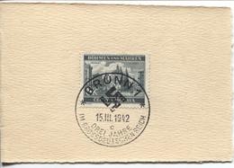 Böhmen Und Mähren 15.3.42 Sonderstempel 87c Briefstück, Brünn 3 Jahre Protektorat - Briefe U. Dokumente