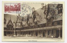 BEAUNE 15FR  CARTE MAXIMUM COUR HONNEUR BEAUNE 10 OCT 1943 - 1940-49