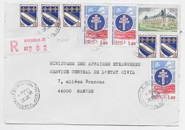 BLASON 10C TROYES X5 + 1FR DEGAULLEX3+3FR LETTRE REC MARSEILLE 14.2.1977 - 1941-66 Wappen
