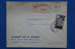 B138 TUNISIE  BELLE LETTRE RECOM. 1955  TUNIS ROUSTAN   POUR PARIS FRANCE  + AFFRANCH. PLAISANT - Brieven En Documenten