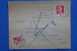 B138 FRANCE  TUNISIE   BELLE LETTRE   1959  PARIS   POUR TUNIS +NON RECLAME +  TAXE   T.P TUNISIE   + AFFRANCH. PLAISANT - Briefe U. Dokumente