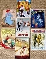 Lot De 7 CPM Publicitaires (vélo, Bicyclette, Vélocipède) : Novelty, Clément, Griffon, Rexor, Peerless, Elan,  Brossard - Advertising