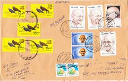 SOUTH SUDAN Cover Full Set 2017 Overprints On 2 SSP Birds Via UGANDA 6x Gandhi To NL Südsudan Soudan Du Sud - Zuid-Soedan