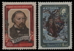 Russia / Sowjetunion 1957 - Mi-Nr. 1916-1917 C ** - MNH - Glinka 12 : 12 1/2 - Ungebraucht