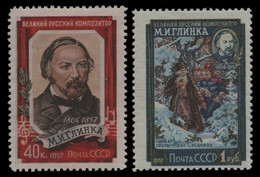 Russia / Sowjetunion 1957 - Mi-Nr. 1916-1917 A ** - MNH - M. Glinka Gez. 12 1/2 - Unused Stamps