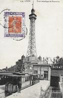 Porte Timbre Semeuse Apéritif Vin Tonique Voisin Mignon Marseillan Sur CP LYON Tour Métallique Fourvière - Tad 1908 - Covers & Documents