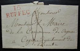 15 Ruffec 1827 Marque Rouge 26 X 11 Bien Frappée Sur Lettre Pour Le Maire De Cognac à Propos De Travaux Réalisés - 1801-1848: Precursors XIX