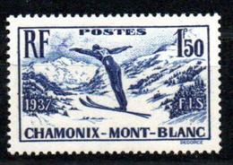 Yvert N° 334  - Chamonix Championnats De Ski - Ongebruikt