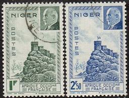 Détail De La Série Maréchal Pétain Obl. Niger N° 93 Et 94 - Forteresse De Zinder - 1941 Série Maréchal Pétain