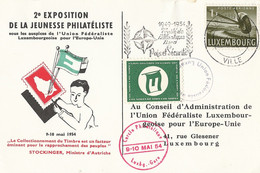 Luxemburg Brief Tgv 2e Exposition De La Jeunesse Philateliste 1954 (2057) - Covers & Documents