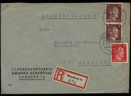 WW II DR Adolf Hitler R - Briefumschlag: Gebraucht Hamburg - Augsburg 1944 , Bedarfserhaltung. - Covers & Documents