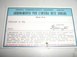 ABBONAMENTO SCOLASTICO 1975-76 GENOVA - Europa