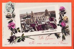 X27042 ⭐ GISORS 27-Eure De ..Vous Envoie Fleurs Cathédrale Vue Prise Tours 1906 De LEBEAU à PELLE Montjavoult Lit BARDEL - Gisors