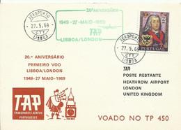 PORTUGAL,  SOBRE CONMEMORATIVO   TAP,  AÑO  1969 - Covers & Documents