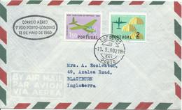 PORTUGAL,  CARTA CON SELLOS AEREOS DIRIGIDA  A  INGLATERRA,  AÑO  1960 - Covers & Documents