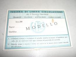 TESSERA DI LIBERA CIRCOLAZIONE -UNIONE ITALIANA TRANVIE ELETTRICHE GENOVA - Europa