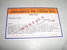 ABBONAMENTO PER L'INTERA RETE GENOVA -ABBONAMENTO SCOLASTICO 1974-74 - Europa