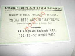 TESSERA DI LIBERO PERCORSO TURISTICA 1965 GENOVA - Europa