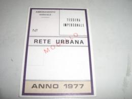 TESSERA RETE URBANA 1977 GENOVA - Europa