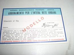 TESSERA RETE URBANA 1976 GENOVA - Europa