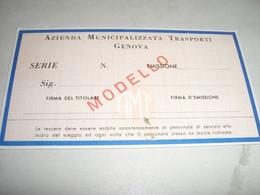 TESSERA RETE URBANA 1968 GENOVA - Europa