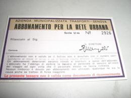ABBONAMENTO PER LA RETE URBANA 1977 - Europa