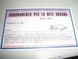 ABBONAMENTO PER LA RETE URBANA ANNO SCOLASTICO 1977-78 - Europa