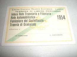 TESSERA UNIONE ITALIANA TRANVIE ELETTRICHE GENOVA 1954 - Europa