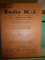 CATALOGUE RADIO M.J. - JUIN 1949 - PIECES DETACHEES & SCHEMAS APPAREILS RADIO - Sin Clasificación