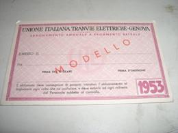 ABBONAMENTO ANNUALE A PAGAMENTO RATEALE 1953 GENOVA - Europa