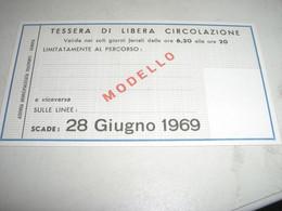 TESSERA  DI LIBERA CIRCOLAZIONE VALIDA SOLO PER UN PERCORSO STABILITO 1969 - Europa