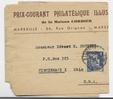 GANDON 4FR BLEU N° 717 SEUL PETITE BANDE MARSEILLE 1946 POUR USA AU TARUF 2EME - 1945-54 Maríanne De Gandon