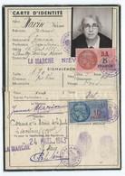 NIEVRE  LA MARCHE  Carte Identité 1943 Avec Timbres Fiscaux - Visiting Cards