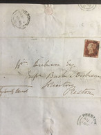 GB Victoria 1848 Entire Liverpool To Preston Tied With 1d Red Imperf Alphabet 1 - Covers & Documents