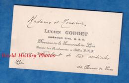 Carte De Visite Ancienne - LYON - Mme & Monsieur Lucien GODDET Ingénieur Civil - Société Roulements à Billes S.K.F. - Visiting Cards
