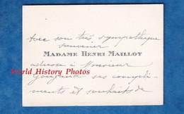 Carte De Visite Ancienne - Madame Henri MAILLOT - Adressé à Monsieur Gougaud - 1925 - Généalogie - Visiting Cards