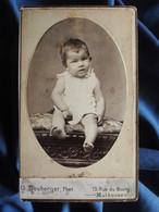 Photo CDV Heuberger à Mulhouse - Jeune Enfant, Bébé, Circa 1890 L556A - Old (before 1900)