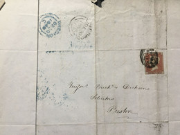 Victoria 1848 Entire Liverpool To Preston Tied With 1d Red Imperf - Covers & Documents
