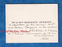 Carte De Visite Ancienne - NANTES - Monsieur & Madame Maurice AVERTY - 22 Rue Lamoriciére - 1925 - Généalogie - Visiting Cards