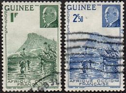 Détail De La Série Maréchal Pétain Obl. Guinée N° 176 Et 177 Gué à Kitim - 1941 Série Maréchal Pétain