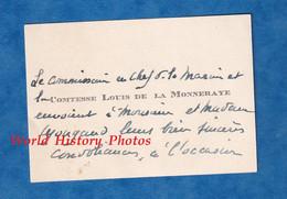 Carte De Visite Ancienne - Le Comissaire En Chef De La Marine Et La Comtesse Louis De La MONNERAYE - Généalogie - Visiting Cards