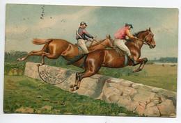 HIPPISME Chevaux Francissant L'obstacle Course De Complet ?  GAUFREE 1905 écrite Timbrée    / D01 2015 - Ippica