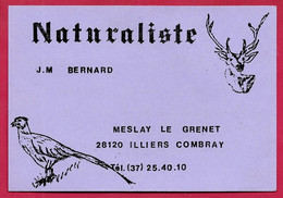 Carte De Visite Commerciale J.M. BERNARD Naturaliste 28 MESLAY-Le-GRENET ** Chasse Taxidermiste Animaux - Visiting Cards
