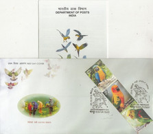 India  2016  Exotic Bords  Parrots  3v  Kanpur  FDC +  Unstamped Brochure  #  77382  D  Inde Indien - Papageien
