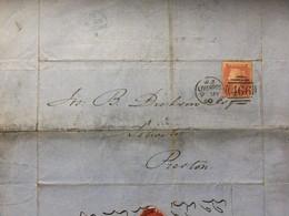 Victoria 1860 Entire Liverpool Duplex To Preston Tied With 1d Red Star - Briefe U. Dokumente