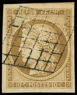 1    10c. Bistre-jaune, Obl. GRILLE, Grandes Marges (filet De Voisin En Haut), Frappe Superbe - 1849-1850 Ceres