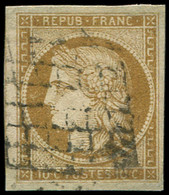 EMISSION DE 1849 - 1    10c. Bistre-jaune, Obl. GRILLE, TB - 1849-1850 Ceres