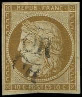 EMISSION DE 1849 - 1    10c. Bistre-jaune, Obl. OR Deux Fois, R Et TB - 1849-1850 Ceres