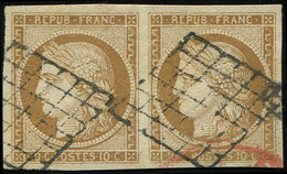 EMISSION DE 1849 - 1    10c. Bistre-jaune, PAIRE Obl. GRILLE, Très Bien Margée, TB. J - 1849-1850 Ceres
