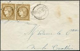 EMISSION DE 1849 - 1    10c. Bistre-jaune, 2 Ex. Obl. PC 2481 S. Grand Fragt Avec Càd T15 POITIERS, TB - 1849-1850 Ceres